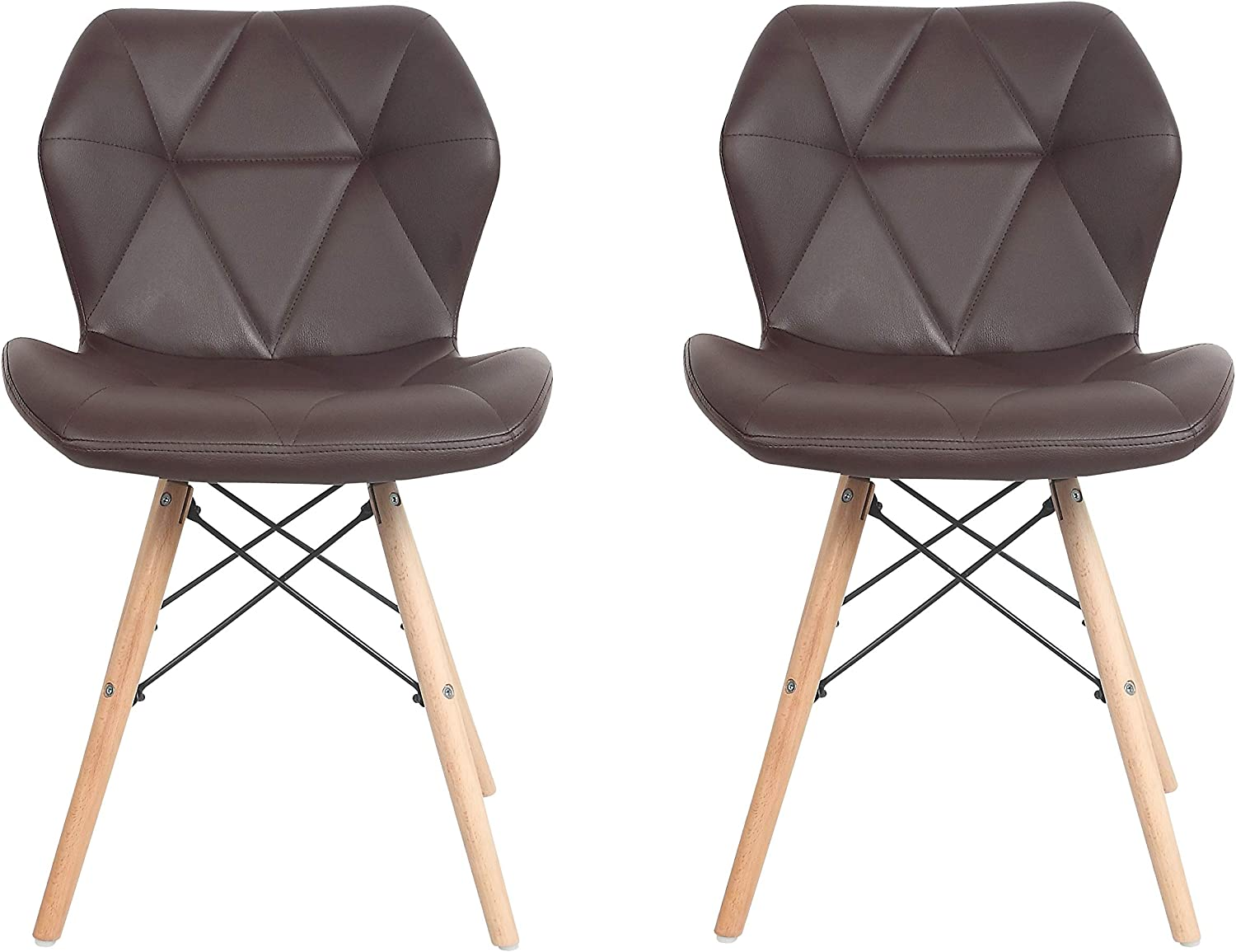 ViscoLogic Rever Eames Style High Back Leatherette Upholstered Eiffel Side Dining Chair Set with Natural Wooden Legs. (Set of 2, Brown)