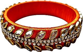 عرض مهرجان GOELX : سوار كوندان مصمم يدويًا أنيق وجميل للنساء بألوان برتقالية - 2.8