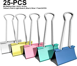 Nctinystore Color Binder Clips Medium Colored Metal Clamp 1.25 inch / 32 mm (Silver 1, Blue 6, Pink 6, Yellow 6, Green 6 Total 25 PCS)