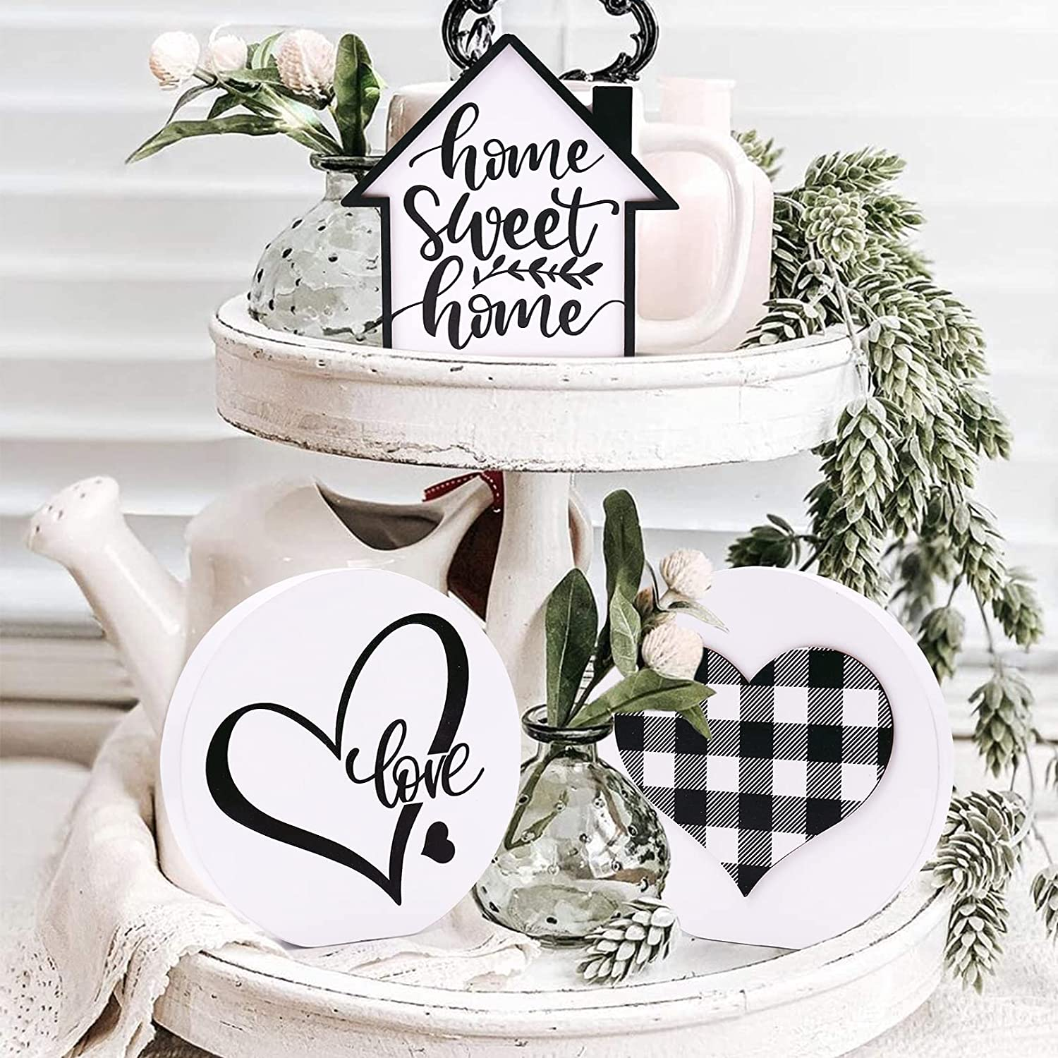 Huray Rayho Home Sweet Home Tiered Tray Decor Buffalo Plaid Heart Mini 3D Wood Signs Farmhouse Rae Dunn Inspired Love Round Sign Rustic Kitchen Bathroom Decorations 3 Pieces