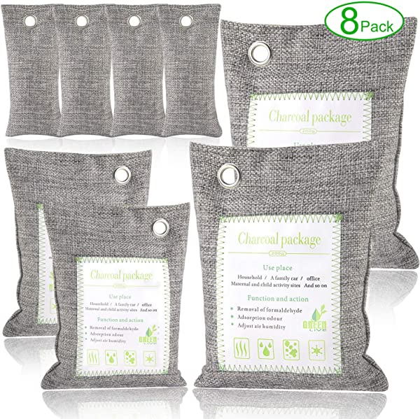 Bamboo Charcoal Air Purifying Bags Odor Eliminators For Home Car And Office 8 Packs Angbo