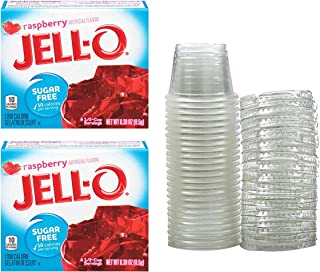 Raspberry Sugar Free Jello Shot Cups Party Bundle. Includes 2 Boxes of Jello Raspberry Flavor Plus 25 – RJF Brands 1 oz Container With Lids. Makes About 25 Jello Shots!