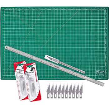 WA Portman Cutting Mat Craft Knife Precision Ruler Set - 24x36 Inch Self Healing Mat - Hobby Knife - 10 Replacement Blades Compatible with Most X acto Knives - 36 Inch Premium Steel Ruler