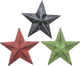 The Bridge Collection Set of 3 Rustic Style Metal Barn Stars in Red, Green, Black