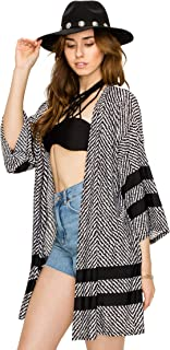 Women's Print Sheer Loose Summer Kimono Cardigan Capes Beach Cover- Made in USA