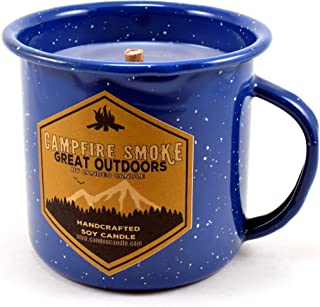 Campfire Smoke Wood Wick Soy Candle in an Enamel Camping Mug, 10 oz
