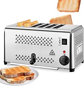 NEWTRY 2500W Commercial Toaster Machine 0.8'' Thickness 6 Slice Stainless Steel for Restaurant Home Use 110V