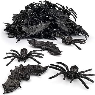 Coogam 48PCS Halloween Spiders Bats Party Favor Decorations Set of 24 Realistic Spiders and 24 Plastic Bats, Small Size Ha...