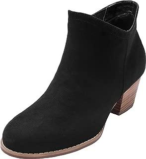 Women's Wide Width Ankle Boots - Mid Chunky Block Heels Round Toe Slip on Side Zipper Booties.