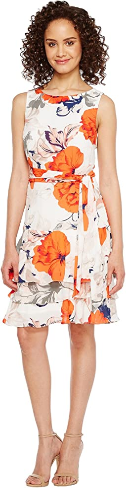 Georgette Sleeveless Ruffle Hem Floral Print Belted Tie Dress