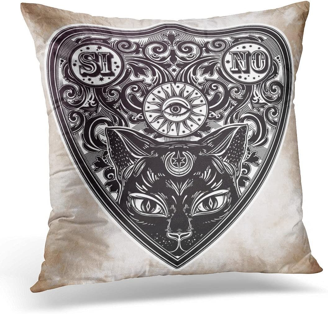 SPXUBZ Aged Vintage Magic Ouija Board Oracle Black Cat Head Portrait Antique Boho Chic Halloween and Tattoo Decorative Home Decor Square Indoor/Outdoor Pillowcase Size: 18X18 Inch(Two Sides)