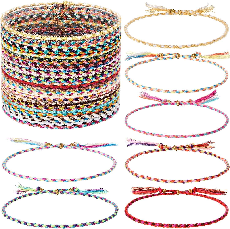 28 Pieces Woven Wrap Friendship Bracelets Handmade Braided Friendship Bracelet Adjustable Colorful Beaded Bracelet