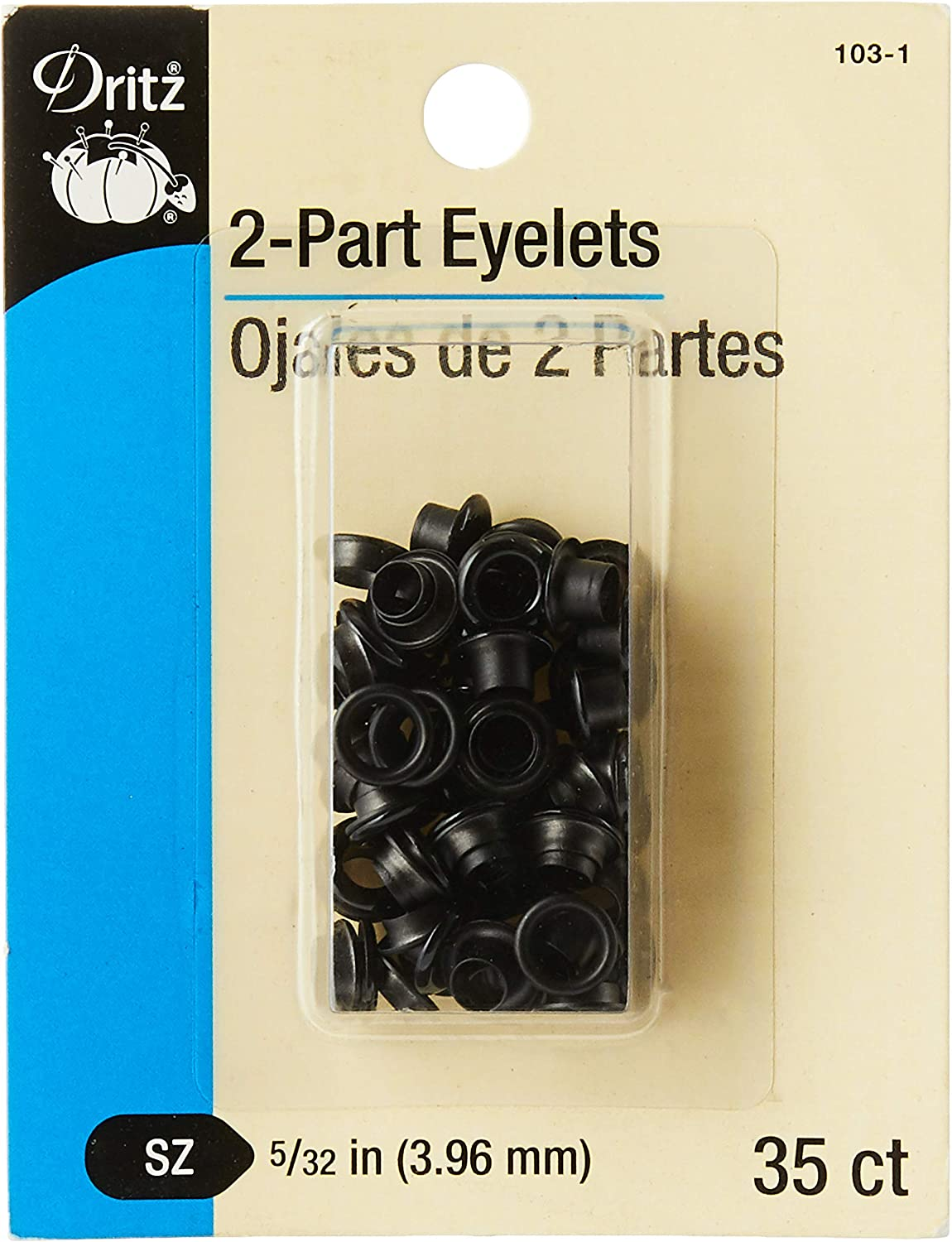 1//4-Inch 15-Count Dritz 730-65-T 2-Part Eyelets Kit with Tools Nickel