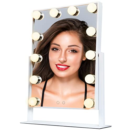 97fd58e1f72 VELLUCCIO Hollywood Mirror With Lights - Illuminated Makeup Mirror With  Stand and 12 Dimmable LED light
