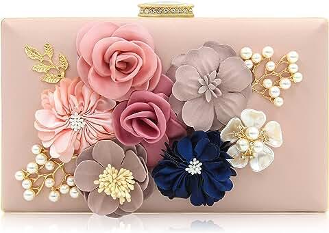 Milisente Women Flower Clutches Evening Bags Handbags (Light Pink)