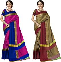 Anni Designer Women's Sarees Cotton Saree with Blouse Piece (Pack of 2) (Ashi Combos_Pink Blue & Chiku Red_Free Size)