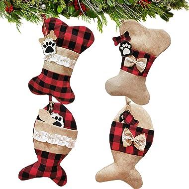 Alpurple 4 PCS Pet Dog Cat Christmas Stockings-Buffalo Plaid Large Bone &Fish Shape Hanging Pets Christmas Stockings for