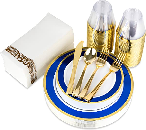 200 Piece Plastic Plates Plastic Cutlery Rimmed Plastic Cups And Guest Towels Service For 25 Guests Elegant Disposable Dinnerware Set For Wedding Party Thanksgiving Holiday Blue And Gold