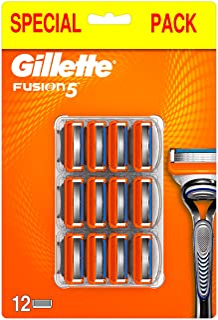 Gillette Fusion5 Lamette da Barba, 12 Ricambi da 5 Lame, Delicatezza Insuperabile, Rasatura Scorrevole con Striscia Lubrif...
