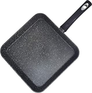"""11"""" Gray Forged Aluminum Square Marble Granite Nonstick Ceramic Griddle Frying & Grill Pan - PFOA Free"""