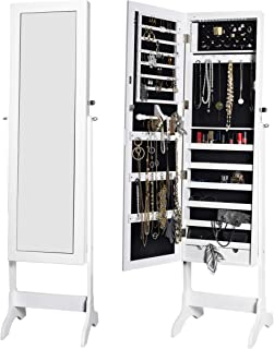 JAHRSTIM 15 LEDs Jewelry Armoire Standing Lockable Full-Length Mirrored Cabinet Storage Organizer with 2 Drawers, White