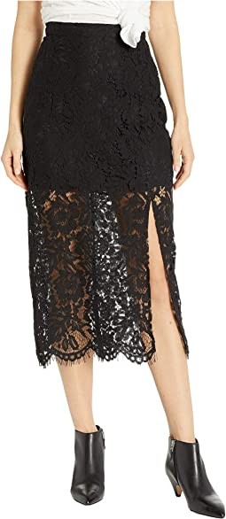 Lace Straight Midi Skirt w/ Slit