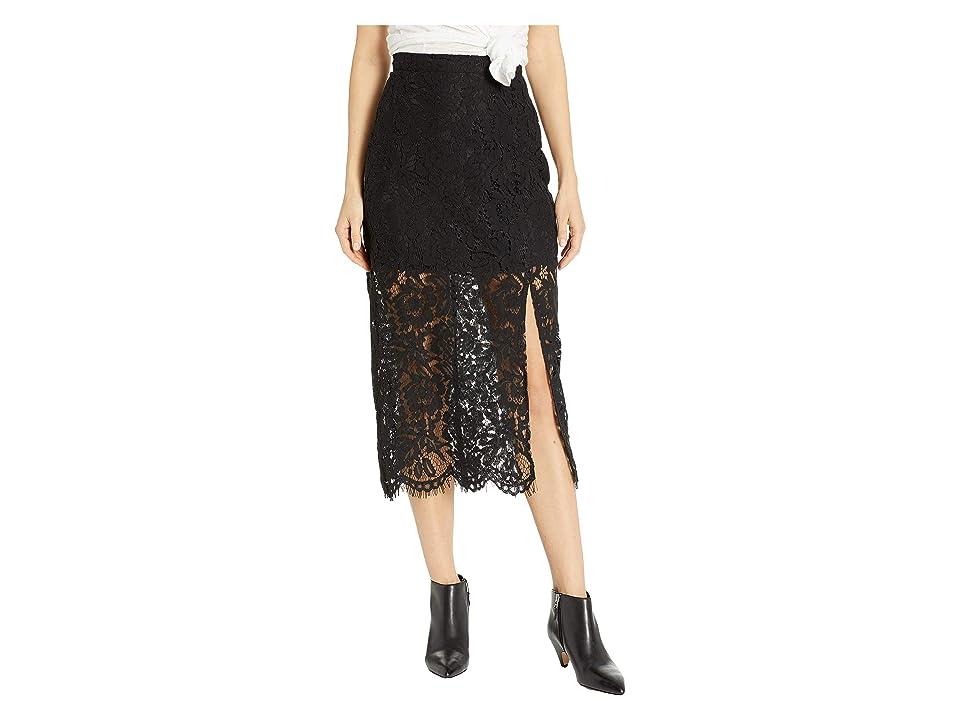 Chaser Lace Straight Midi Skirt w/ Slit (True Black) Women
