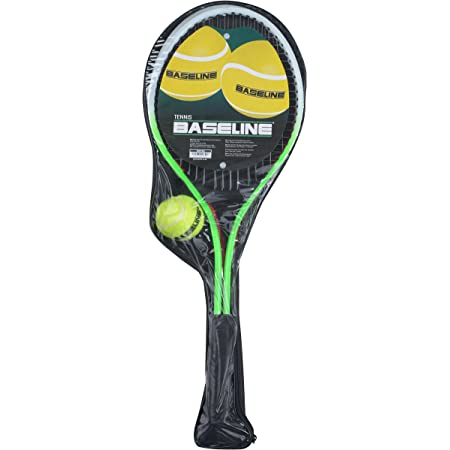 Baseline BG958 Tennis Racket 2 Player Set for Kids, 2 Rackets and Ball, Green/Red