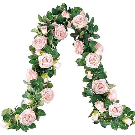 Home Decor Baby Shower Decor Greenery Rose Wreath Silk Roses Realistic Roses Garland 2.5m Artificial Rose Garland Wedding Decor