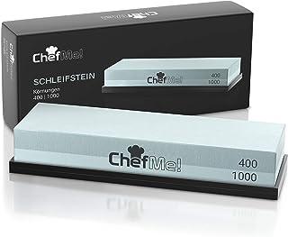 ChefMe! Piedra de Afilar (Grano 400/1000)   Piedra para Amolar Cuchillos con Soporte de Silicona Antideslizante e Instrucciones