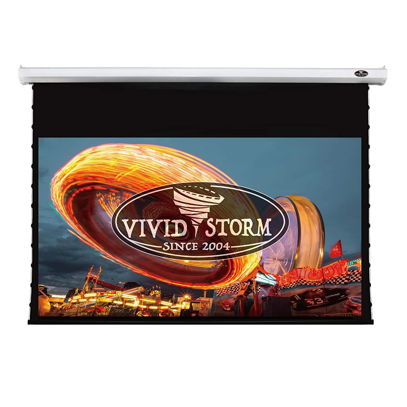 VIVIDSTORM 4K/3D/UHD Deluxe Tab-tensioned Screen,Electric Drop Down Projector Screen,100-inch Diagonal 16:9, with White V Cinema PVC Screen Material, Wireless 12V Projector Trigger,Model: V6JLW100H