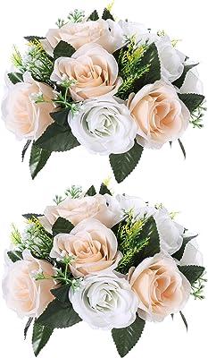 Paquete de 2 rosas artificiales de seda con tallos de plástico para bodas, arreglos de bolas de boda, centros de mesa para decoración de fiestas, 15 cabezas de flores champán