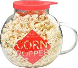Home-X Microwave Popcorn Maker 3 Quart Microwavable Popper | Temperature Safe Glass, Snack Size, Red