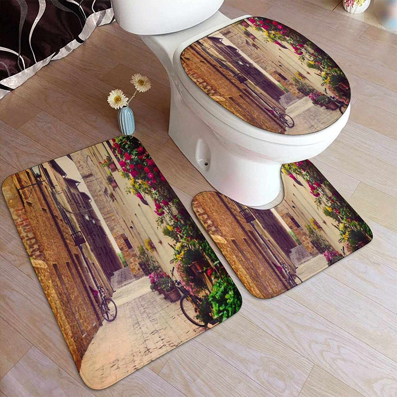 COVASA 3 Free Shipping New Pieces Bath Mats Set Credence Street in Tusc for Pienza Bathroom