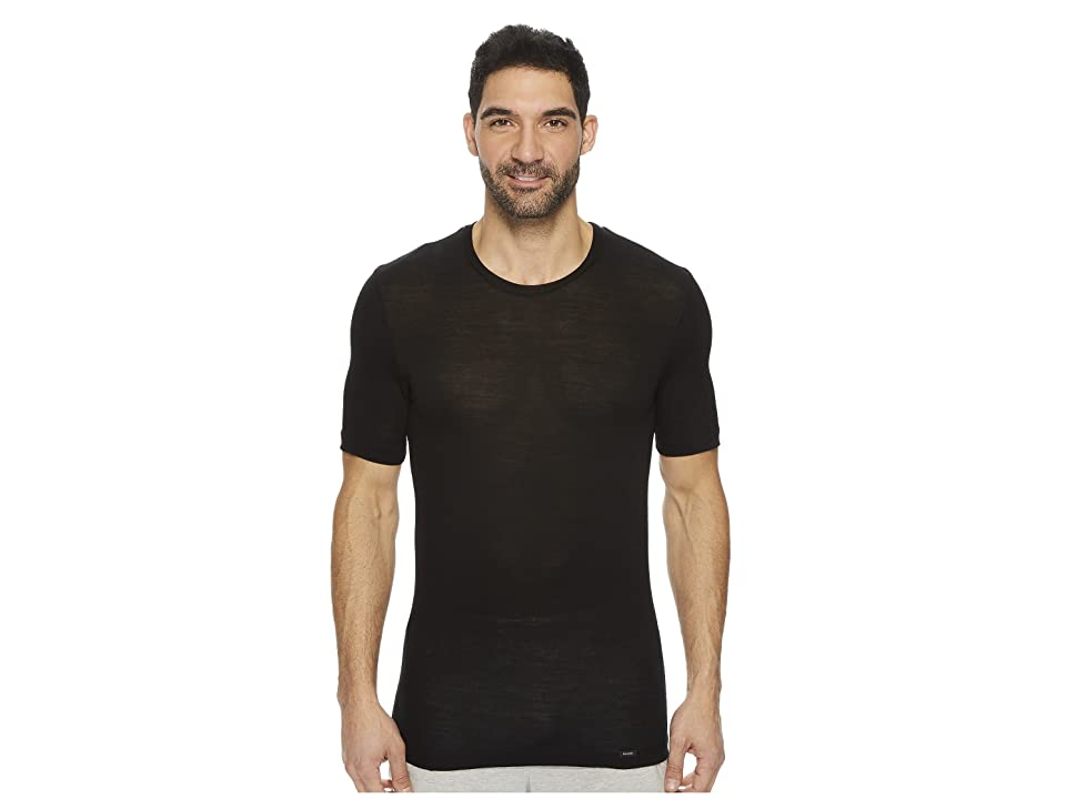 Hanro Light Merino Short Sleeve Shirt (Black) Men