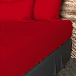 Soleil d'Ocre 615807 Drap Housse Uni Coton 57 Fils Rouge 200 x 180 cm