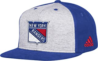 adidas NHL New York Rangers Flat Brim Snapback Hat, One Size, White