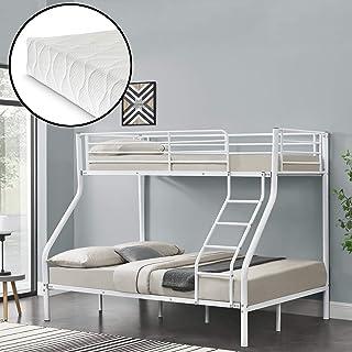 Neu.Haus Litera de Metal con colchones de Espuma fría 210 x 147,5 x 168 cm con reja Protectora Metal Poliéster Blanco