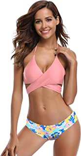 afd9d16e0e SHEKINI Womens Bathing Suits Floral Printing Swim Bottoms Padded Halter  Bandage Bikini Two Piece Swimsuits