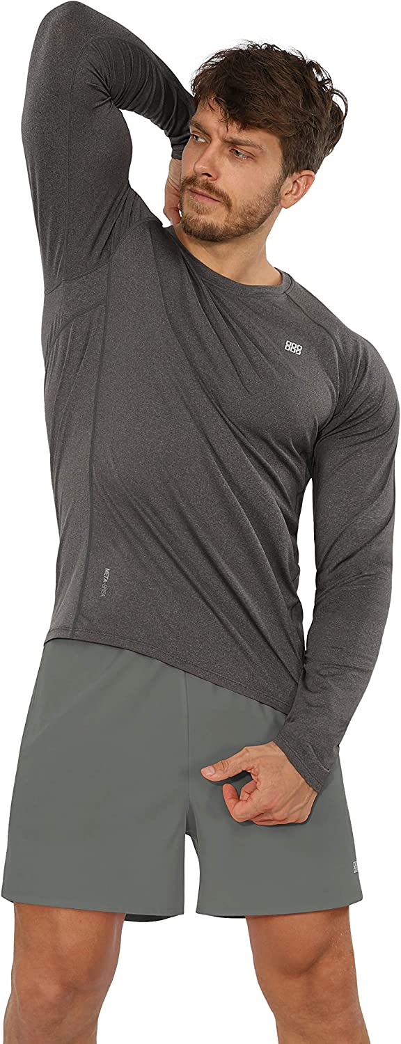 ODODOS Men's Long Sleeve Fitted Athletic T-Shirts UPF 50+ Sun Protection SPF Tee Shirts Fishing Hiking Workout Tops