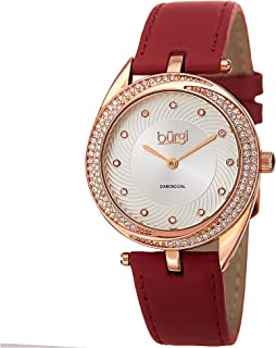 Burgi Diamond & Crystal Accented Women's Watch - 12 Diamond Hour Markers Swirl Design On Genuine Leather Strap - BUR122