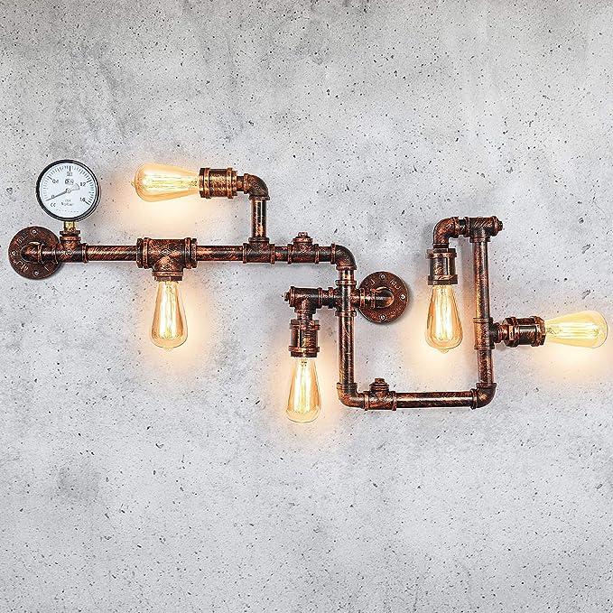 108 opinioni per EDISLIVE Industriel Appliques Murales 5 Lampe Lèche-murs Métal Conduite d'eau