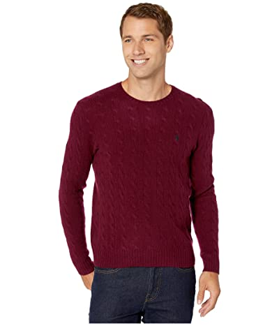 Polo Ralph Lauren Wool Cashmere Long Sleeve Cable Knit Sweater (Classic Burgundy Heather) Men