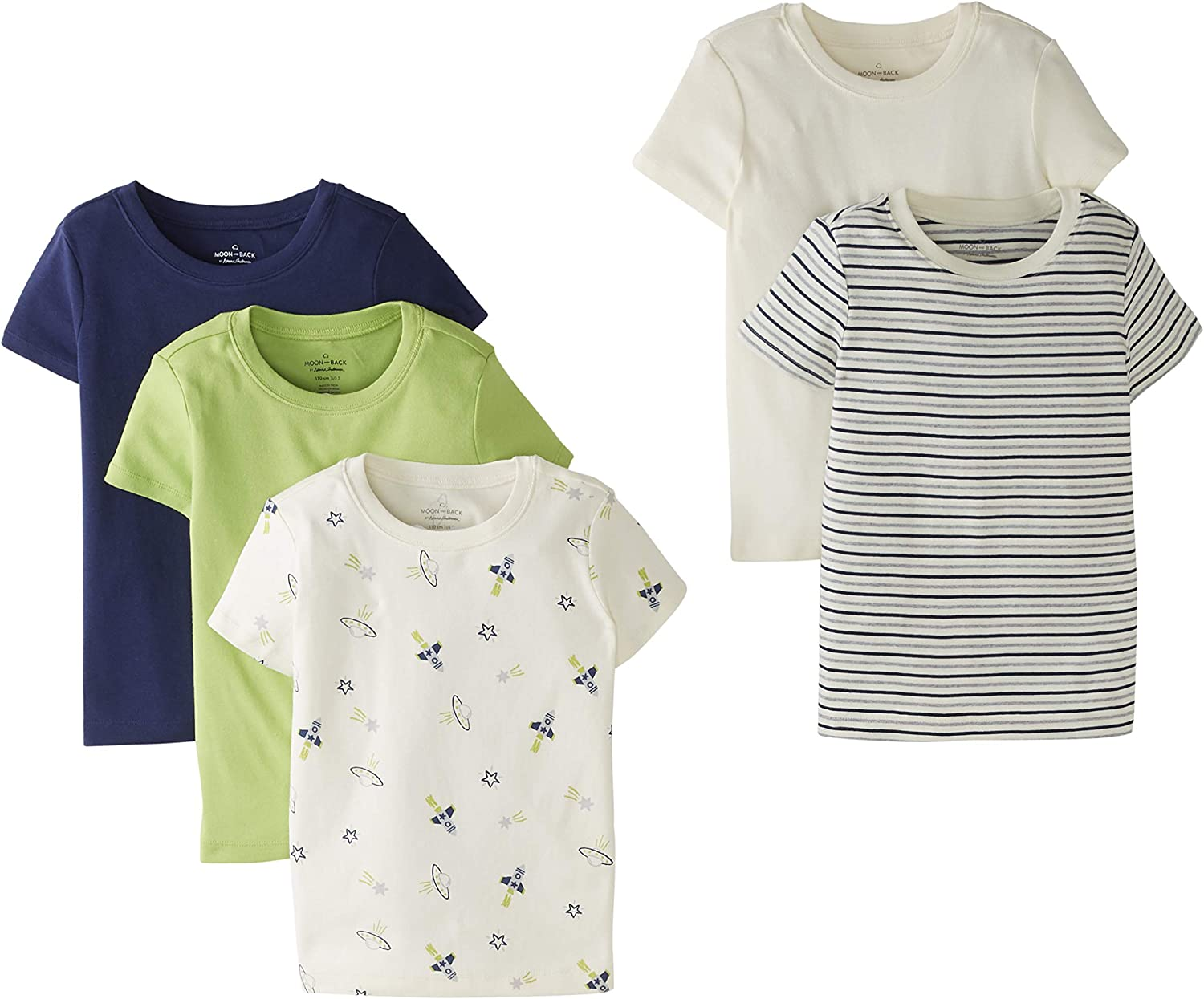 Moon and Back by Hanna Andersson Girls' 5 Pack Crew Neck Tee