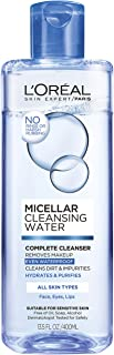 Makeup Remover, L'Oreal Paris Micellar Cleansing Water Complete Cleanser to Remove Makeup, Gentle Cleanser, 13.5 Fl Oz