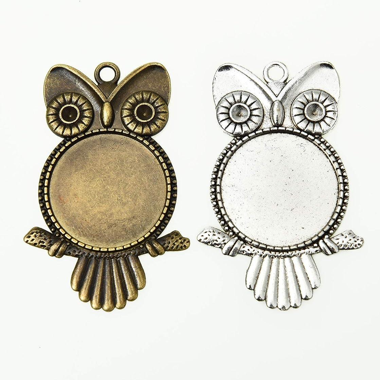 Monrocco 20PCS 25mm Retro Alloy Owl Pendant Trays Round Blank Bezel Bird Animal Setting Pendant Tray for Jewelry Making, Antique Silver & Antique Bronze