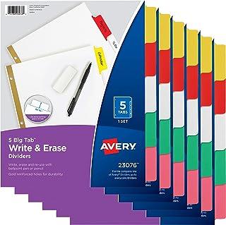 Avery 5-Tab Binder Dividers, Write & Erase Multicolor Big Tabs, 6 Sets (23076)