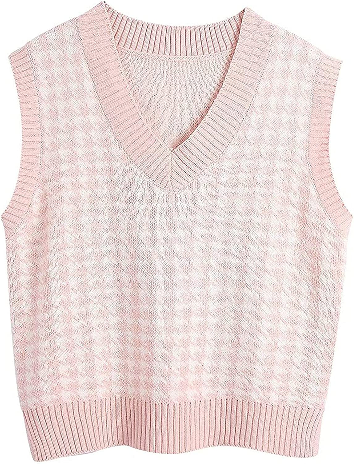 Women's Sweater Vest Casual V-Neck Pullover Contrast Color Sleeveless Shirt Top