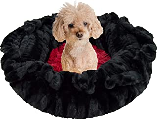 product image for BESSIE AND BARNIE Ultra Plush Black Puma/Lollipop (Patch) Shag Deluxe Dog/Pet Lily Pod Bed