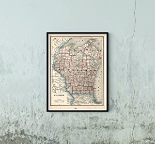 Map|World Atlas, Wisconsin 1893|Historic Antique Vintage Reprint|Size: 18x24|Ready to Frame